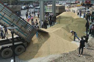 BKK-100-Tonnen-Reis-vor-dem-Sitz-der-staatlichen-Lotteriegesellschaft-entladen